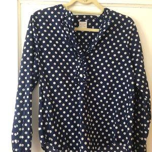 J. Crew navy polka dot blouse